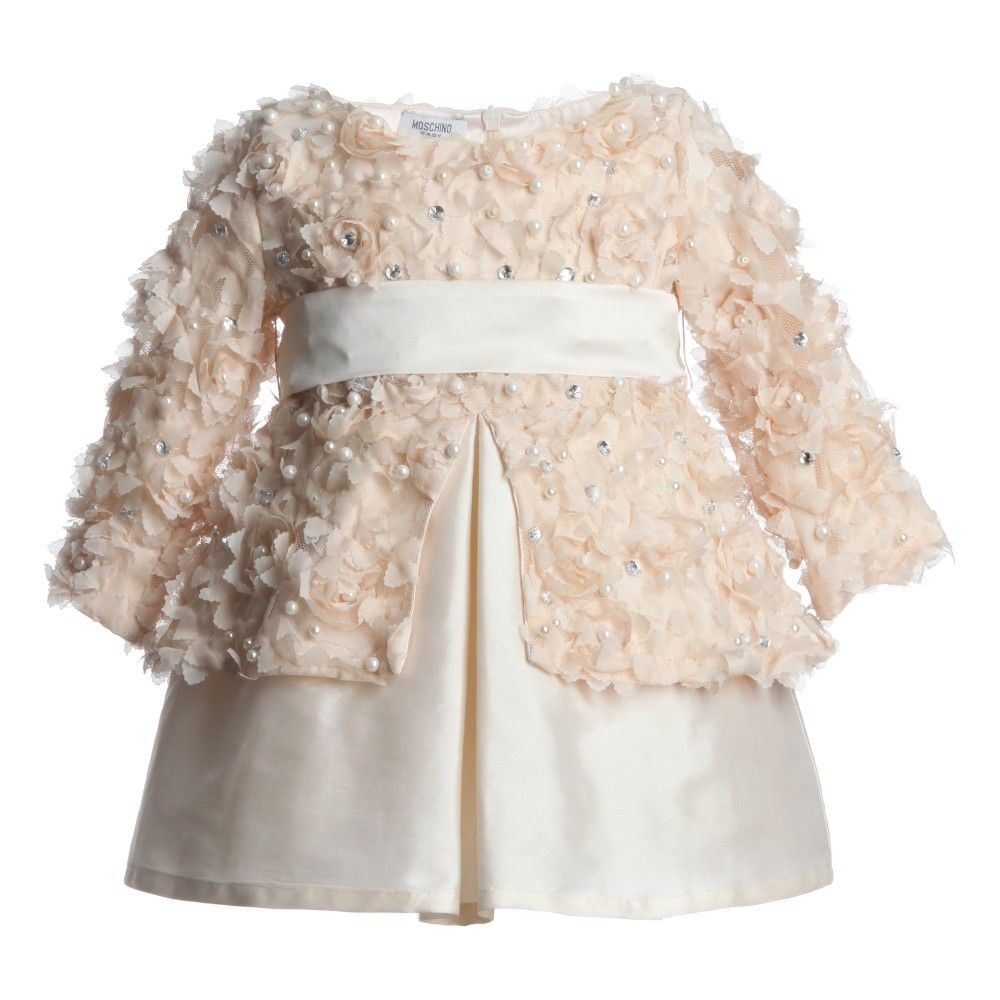 Moschino Baby Ivory Satin and Tulle Dress at