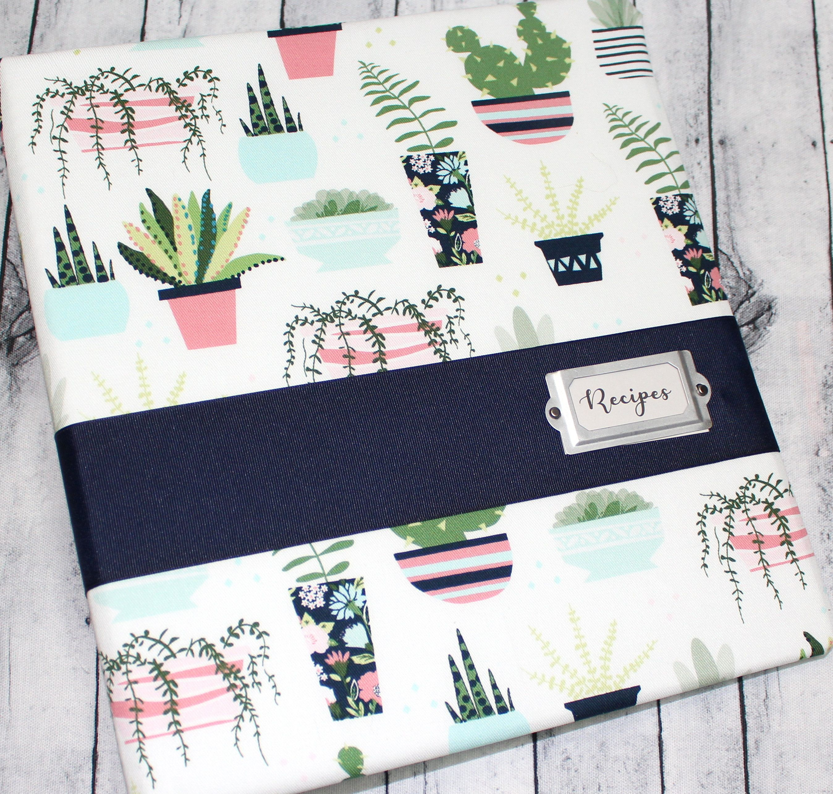 Recipe Book Binder Recipe Dividers Succulents Cactus Navy And Green 3 Ring Recipe Notebook Blank Recipe Book Book Binder Custom Recipe How To Make Notes