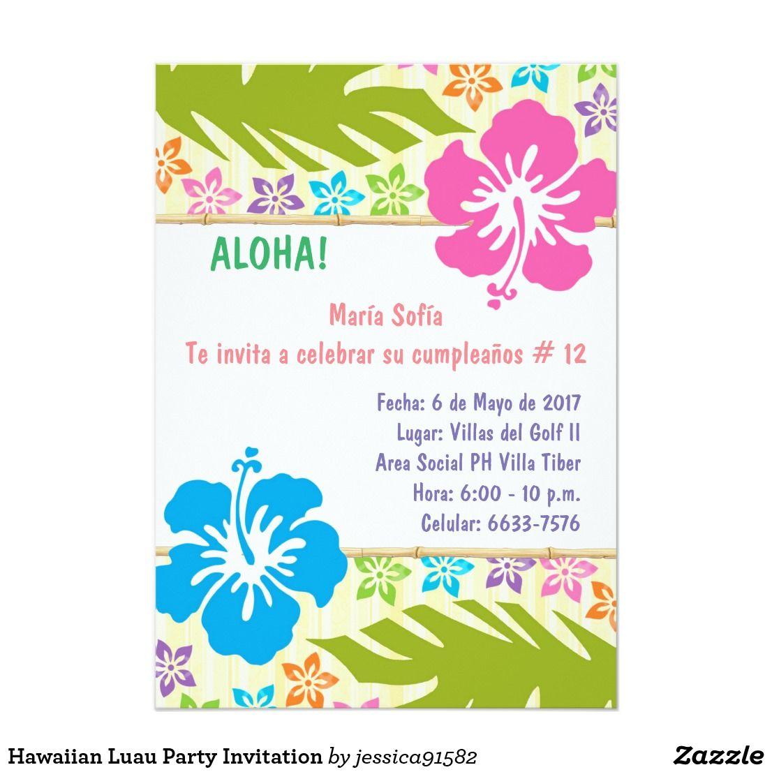 Invitación Hawaiana Del Fiesta De Luau Zazzle Es