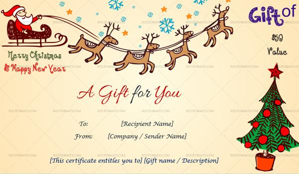 Christmas Gift Certificate Flying Santa 1873 Doc Formats Christmas Gift Certificate Template Christmas Gift Certificate Gift Certificate Template