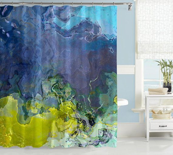 Abstract Art Shower Curtain Contemporary Bathroom Decor Blue And Lime Green Skyline