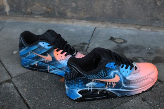Nike Air Max 90 Blue Abstract Style Painted Custom Shoes