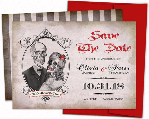 Halloween Save The Date Gothic Wedding Invitations Skull Save The