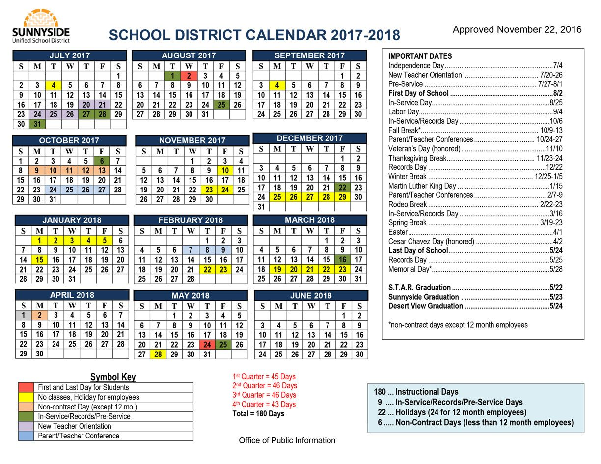 Academic Calendar Sunnyside Unified School District Academic