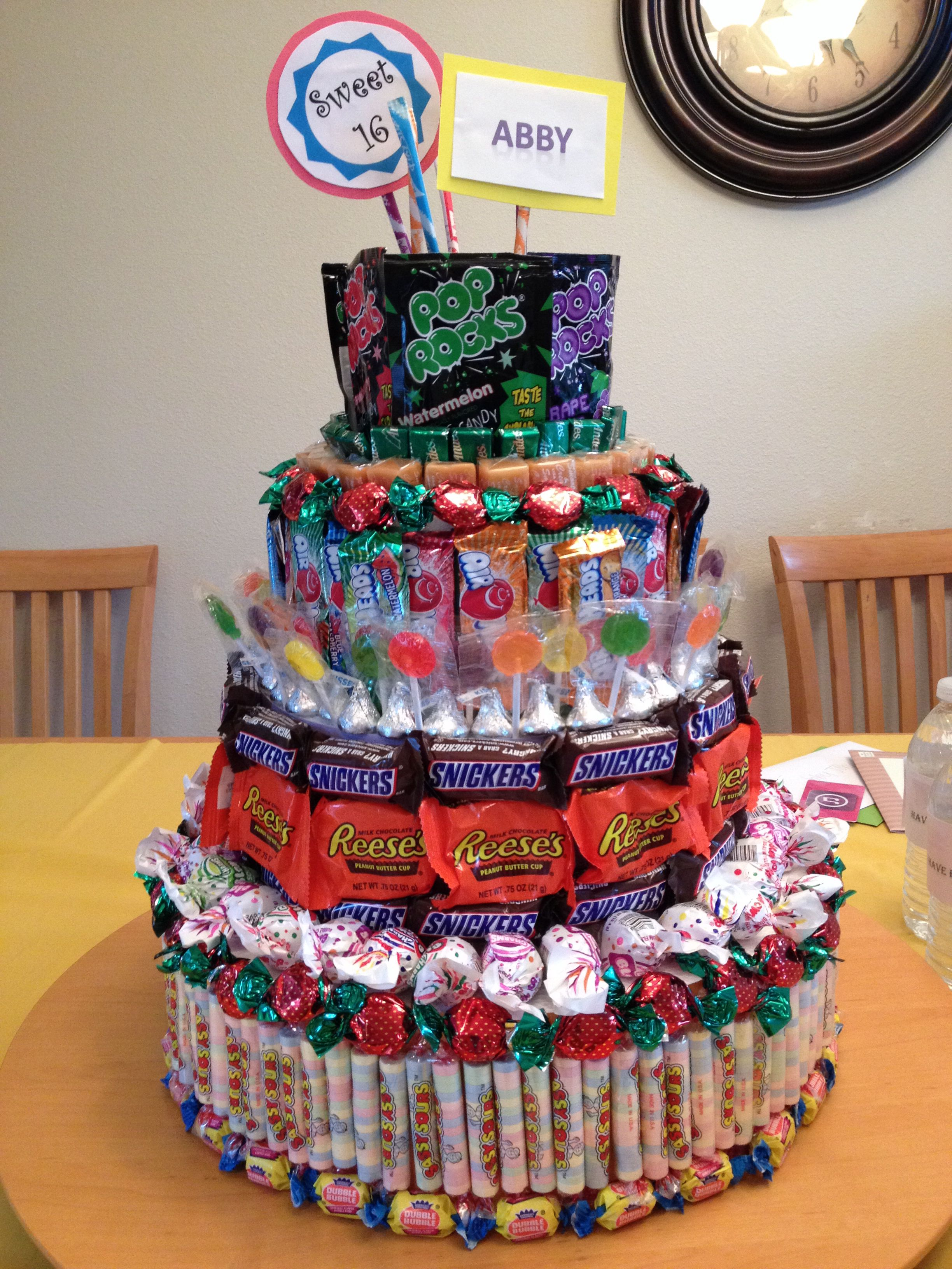Sweet 16 Candy Cake Made With Styrofoam Cake Forms Bought At A