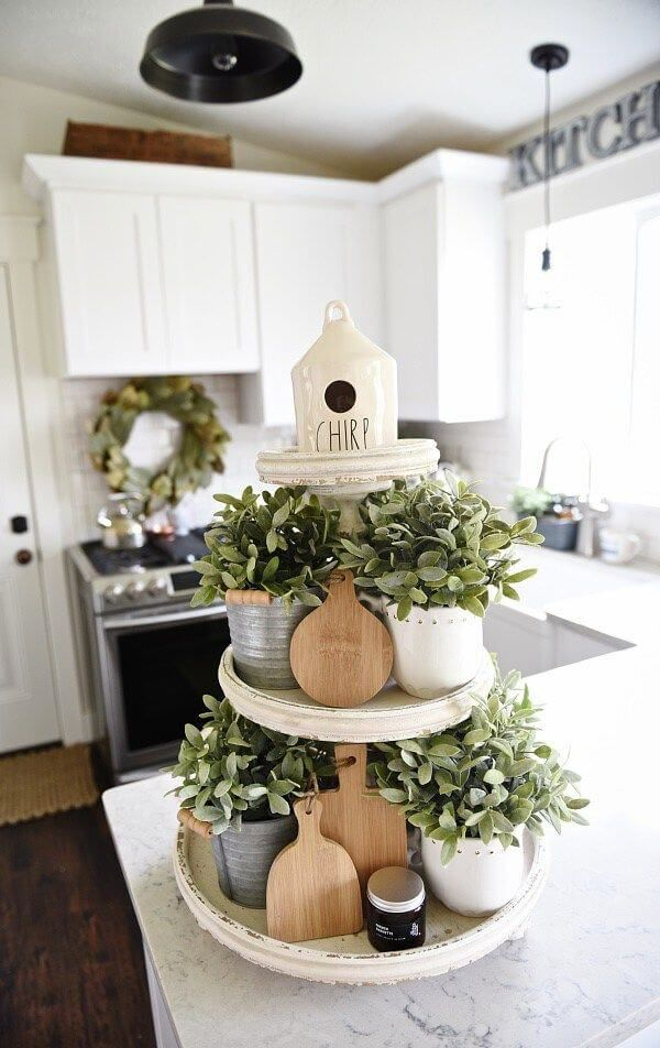 Distressed White 3 Tiered Herb Garden Cloche Tiered Stand Ideas Cottage Style Decor Spring Kitchen Decor Tray Decor