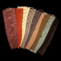 vlnr: lila, rot, hellgrün, grau, dunkelblau, beige, braun-meliert, grün-türkis-meliert, schwarz (Cord; ausverkauft), schwarz