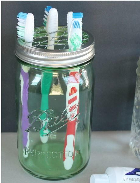 Cute Mason Jar Toothbrush Holder Mason Jar Diy Mason Jars Jar