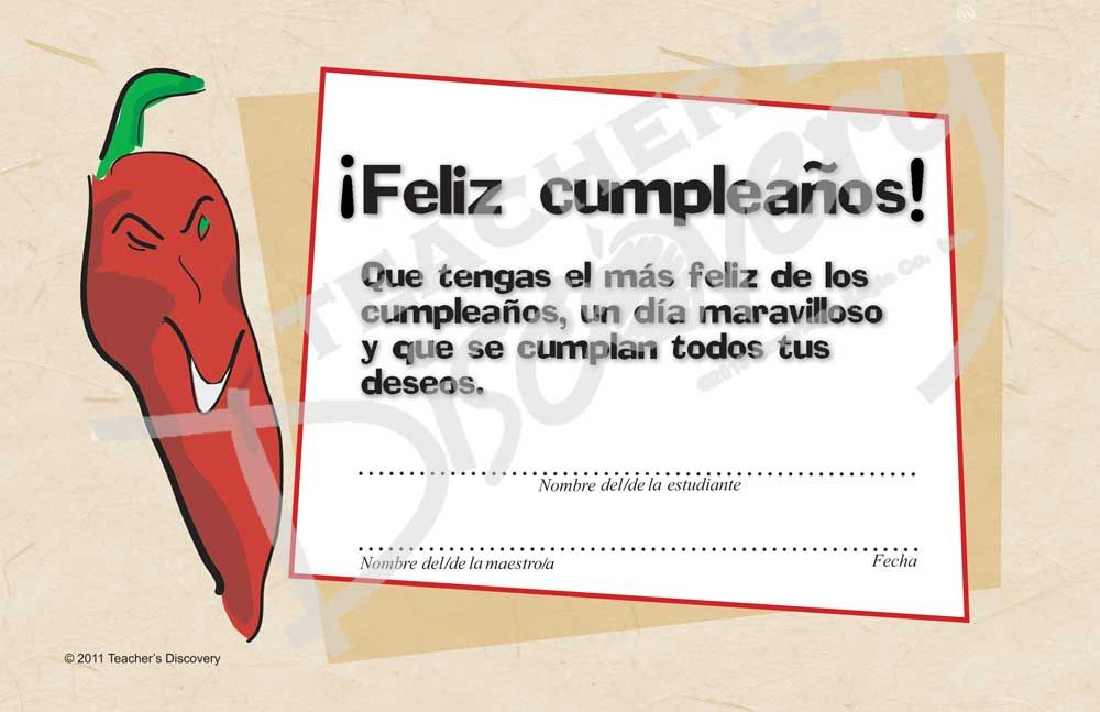 Downloadable Chico Chile Feliz Cumpleaos Spanish Certificate