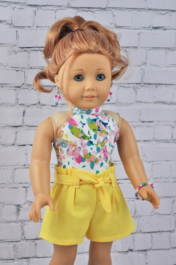 18 inch doll 2 piece short set. Fits most 18 inch dolls such as American girl doll, Our generation doll etc #americangirlhouse