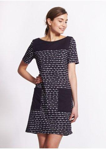 Faye Pocket Dress in Navy Ribbon Print- People Tree