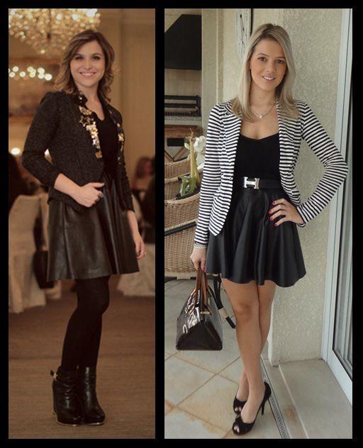 Saia Rodada de couro_looks moda inspiração_blazer listrado_meia calça preta e bota