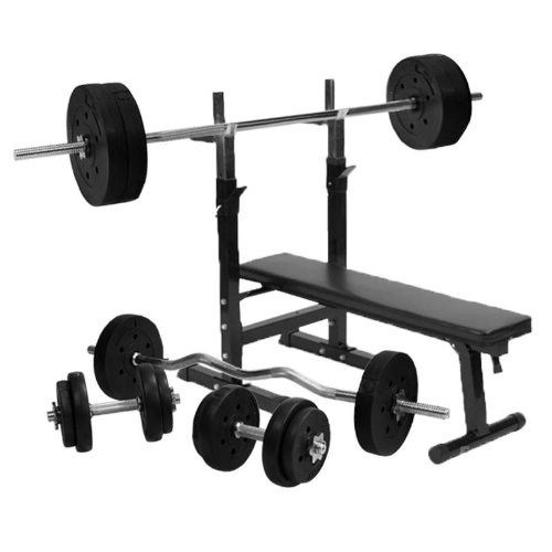 Gorilla Sports Weight Bench With 100kg Weight Set Adjustable