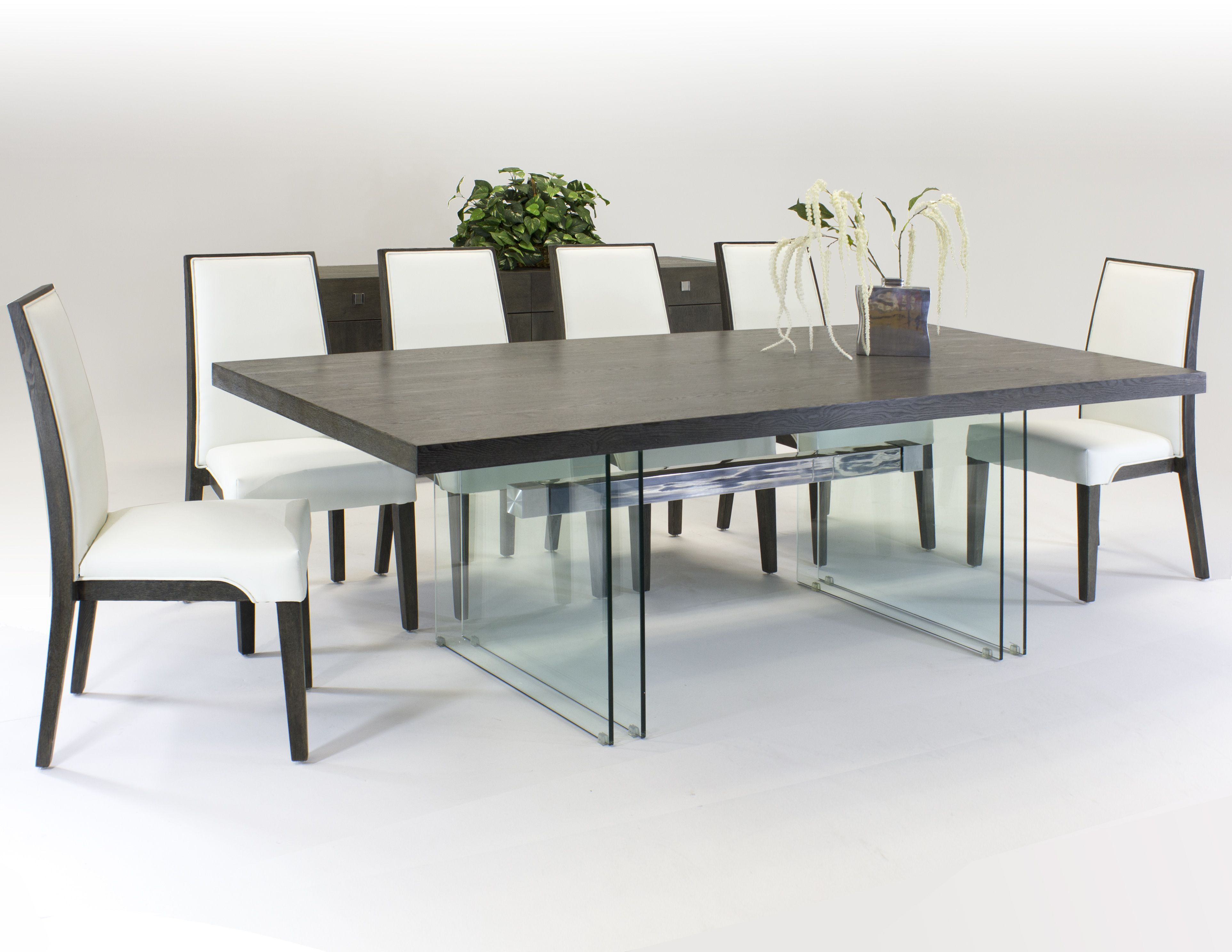 Orly Dining Set Modern Large Table With Glass Legs Modern