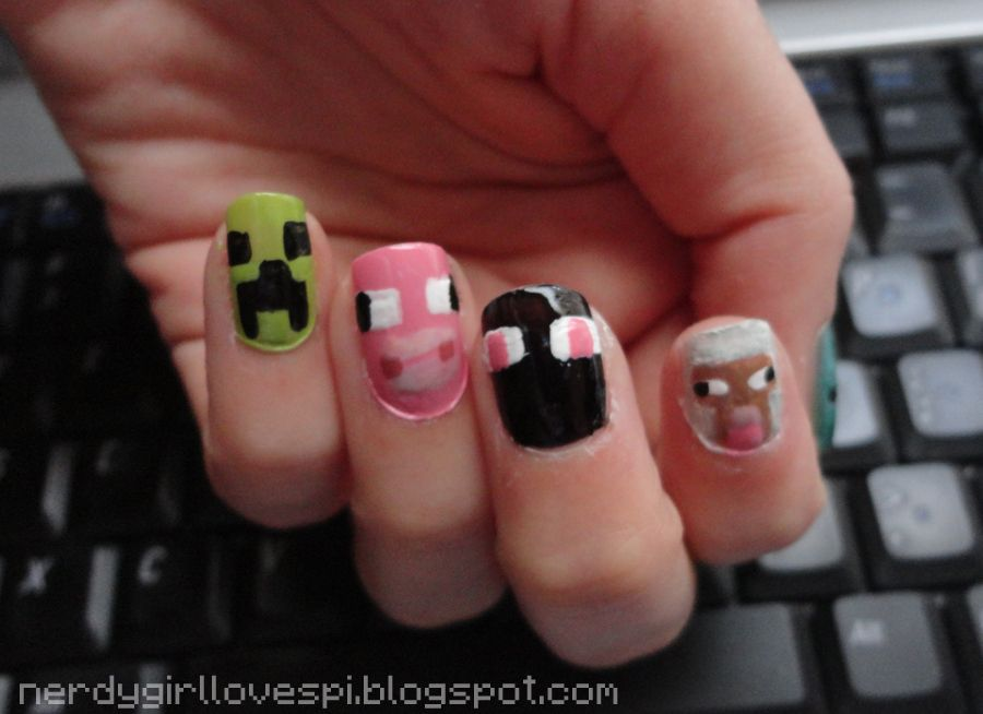 enderman nails - Google Search | Minecraft nails and other nail art ...