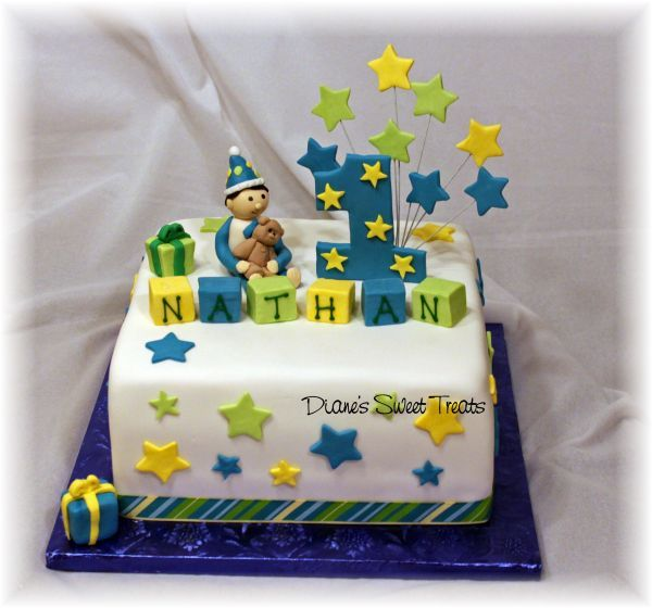 Nathans first birthday cake Boy birthday Birthday cakes and