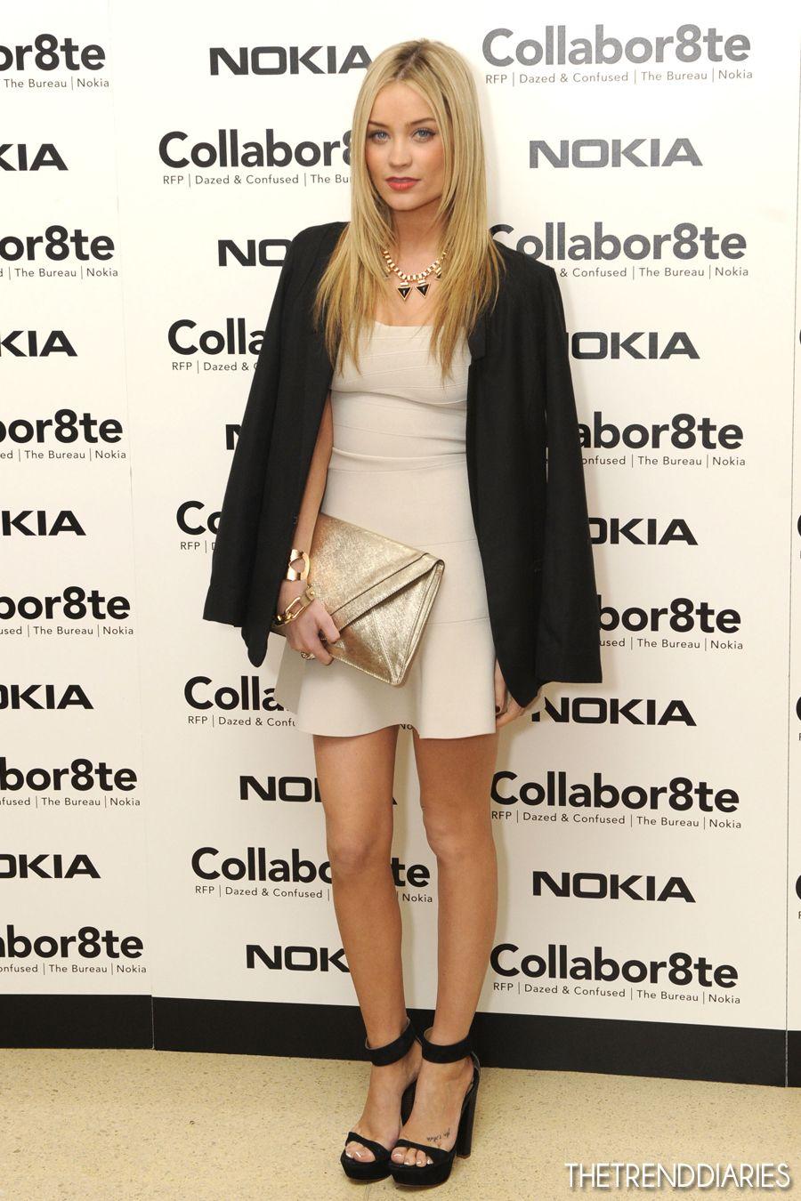 Laura Whitmore nude dress, statement necklace, black blazer, gold ...
