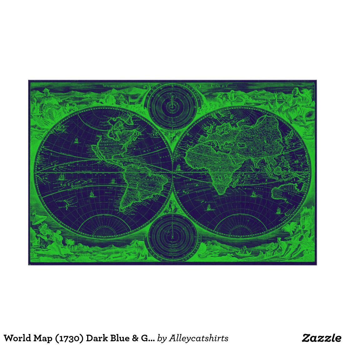 World map 1730 dark blue green poster colorful world maps shop world map pink light blue poster created by alleycatshirts gumiabroncs Image collections