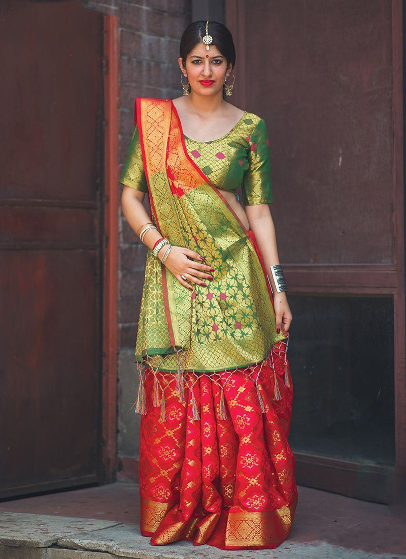 Peach Exclusive Beautiful Banarasi Pure Chiffon Khaddi Silk Saree With Unstitched Running Blouse Women wedding Wear Party Wear Sari