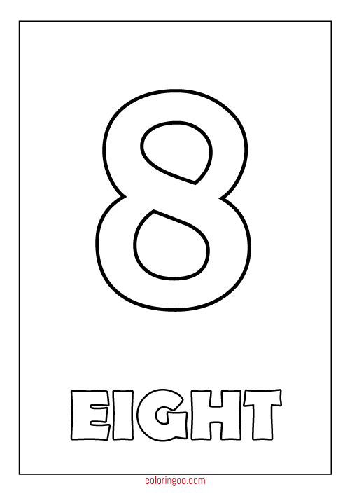 Printable Number 8 Eight Coloring Page Pdf For Kids Printable Numbers Coloring Pages Numbers For Kids