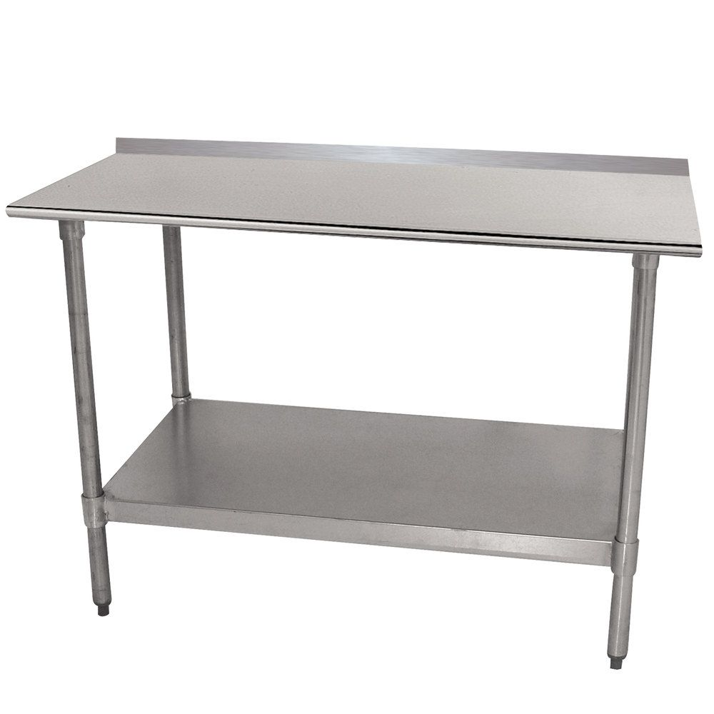 Advance Tabco Ttf 240 X 24 X 30 18 Gauge Stainless Steel Work Table With 1 1 2 Backsplash And Galvanized Undershelf Stainless Steel Work Table Work Table Shelving Accessories
