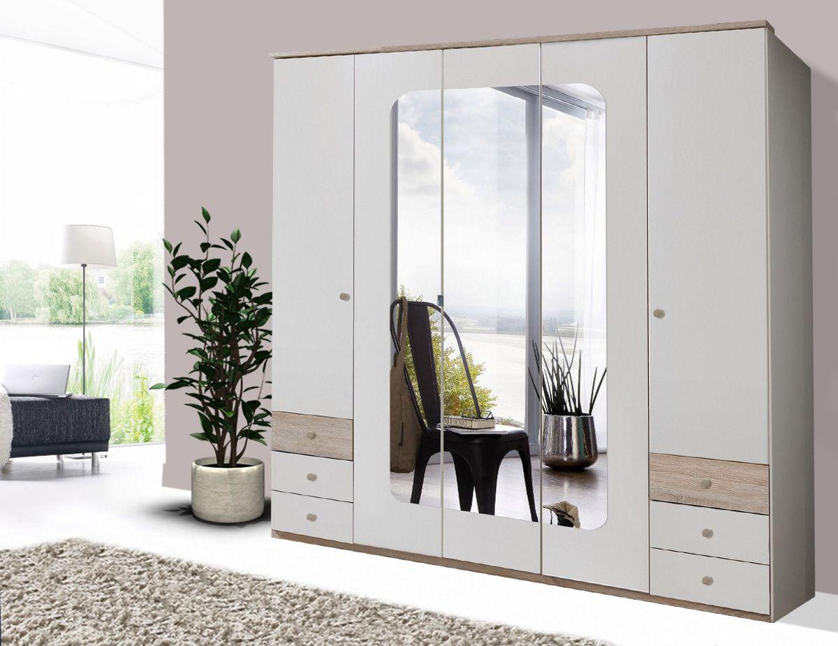 Schlafzimmerschrank Weiß ~ Kleiderschrank schrank türig weiß eiche sägerau mit spiegel