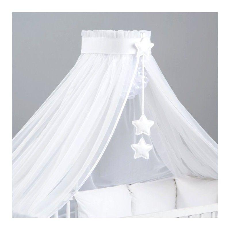 Ciel de lit bébé XXL Blanc Etoiles Blanc avec flèche de lit bébé