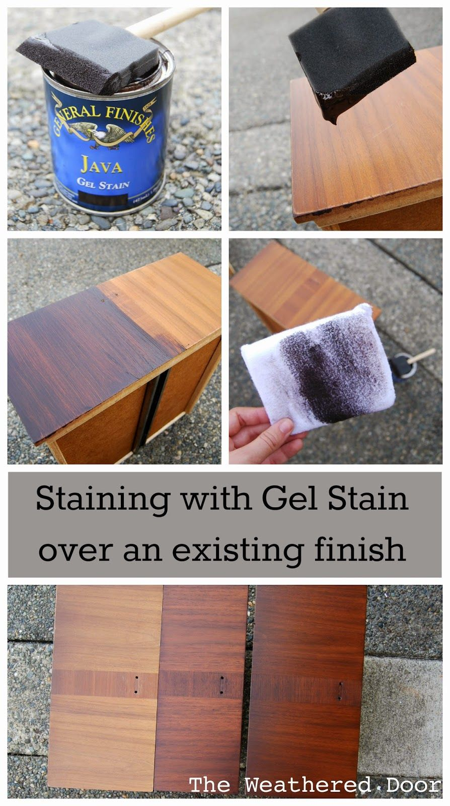 Staining With Gel Stain Over An Existing Finish From The Weathered Door Staining Cabinets Furniture Makeover Furniture Diy