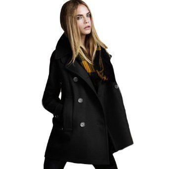 Women Autumn/winter Double Breast Long Trench Woolen Outwear Overcoat