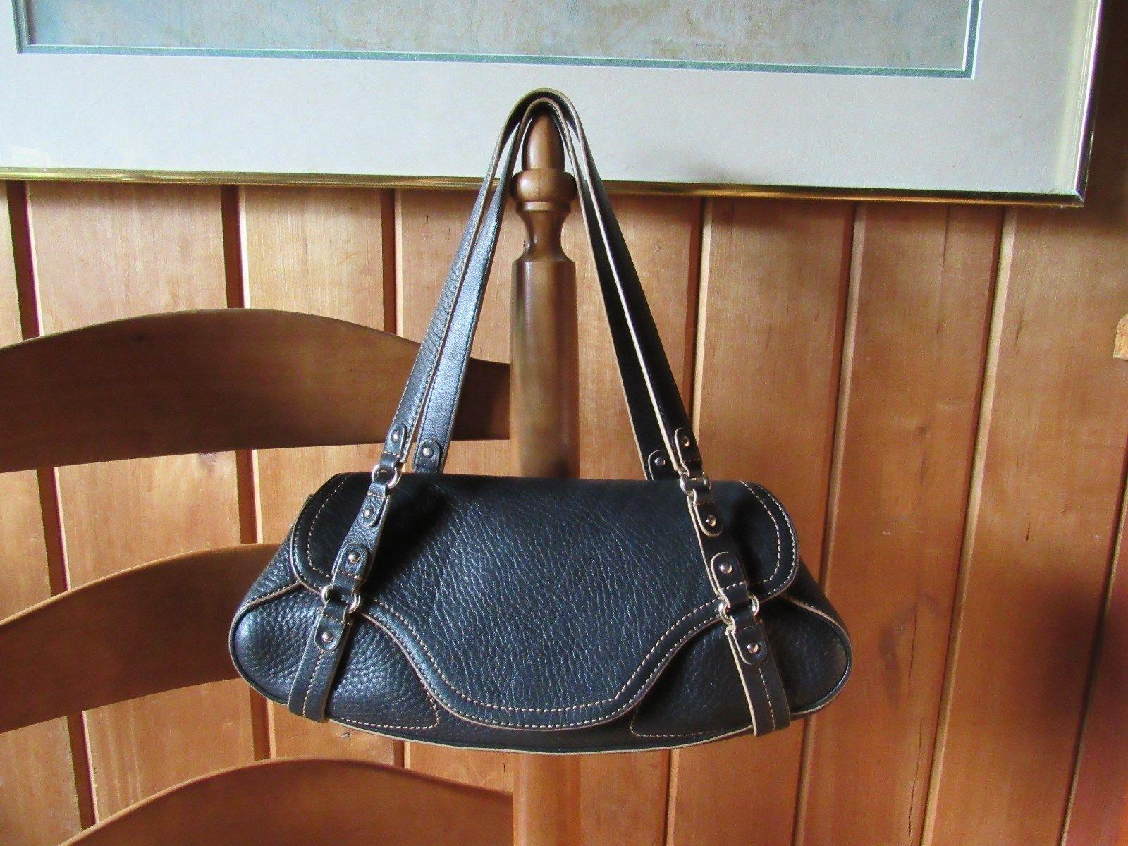 Cole Haan Handbag Dark Plush Leather Baguette F05 Purse Straps Chrome Fittings