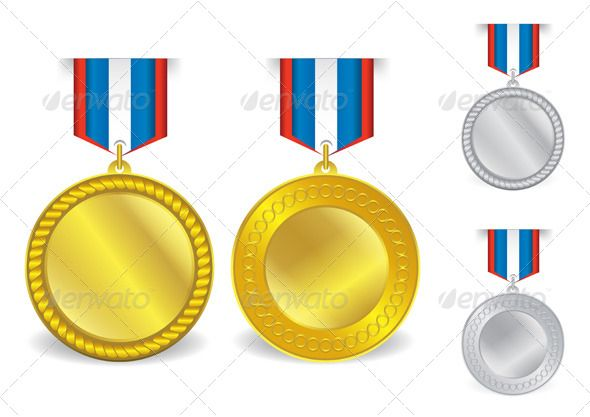 Awards Medals Template 07 Ribbon rosettes, Template and Font logo - gold medal templates