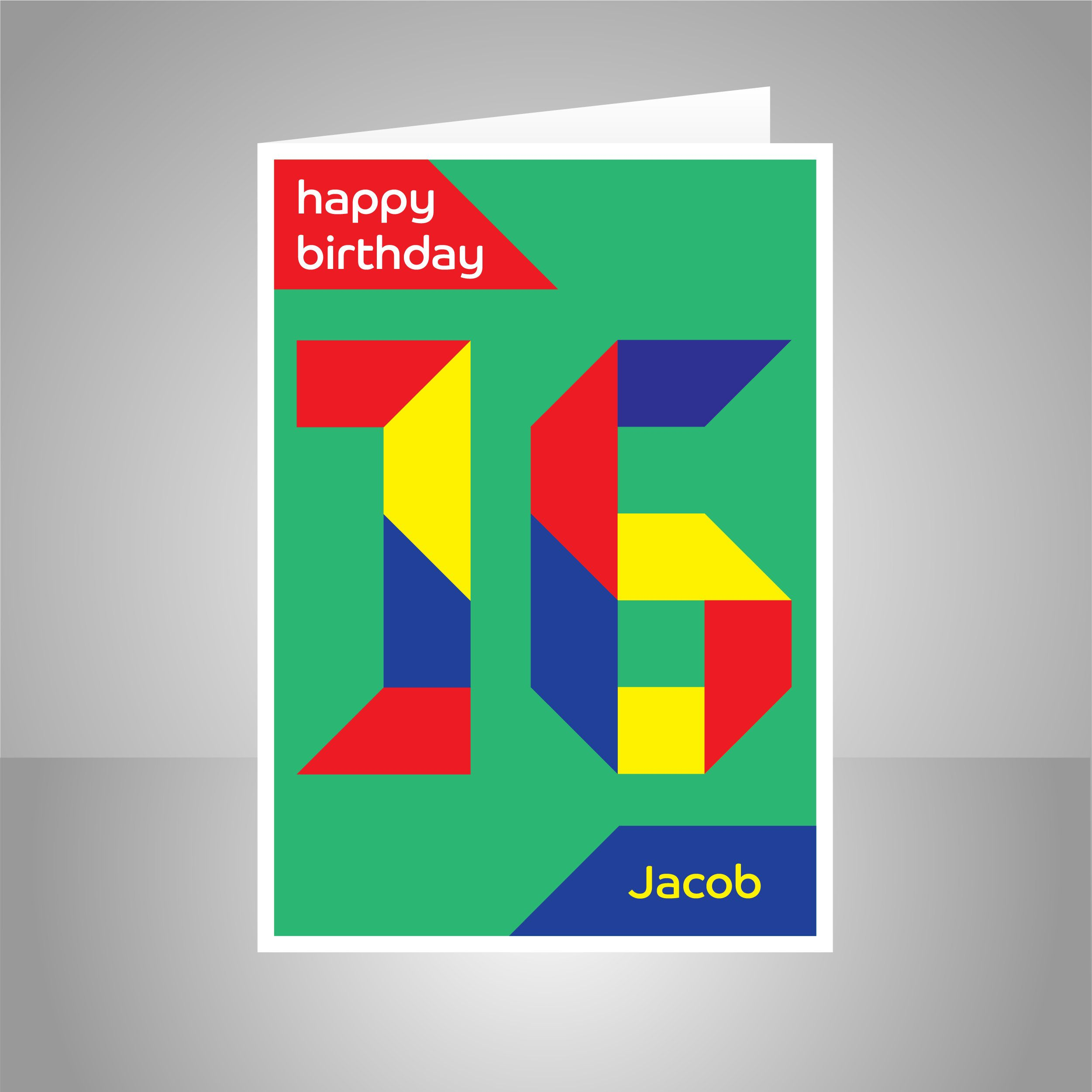 Personalised 16th Birthday Card For Boy For Girl Edit Name 16 Etsy Birthday Cards For Boys 16th Birthday Card Birthday Cards For Him