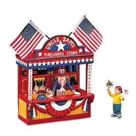 "Department 56: Snow Village - ""Uncle Sam's Fireworks Stand"" - #56.54976 - $45.00 - Intro Dec 1998 - Retired Dec 2000"