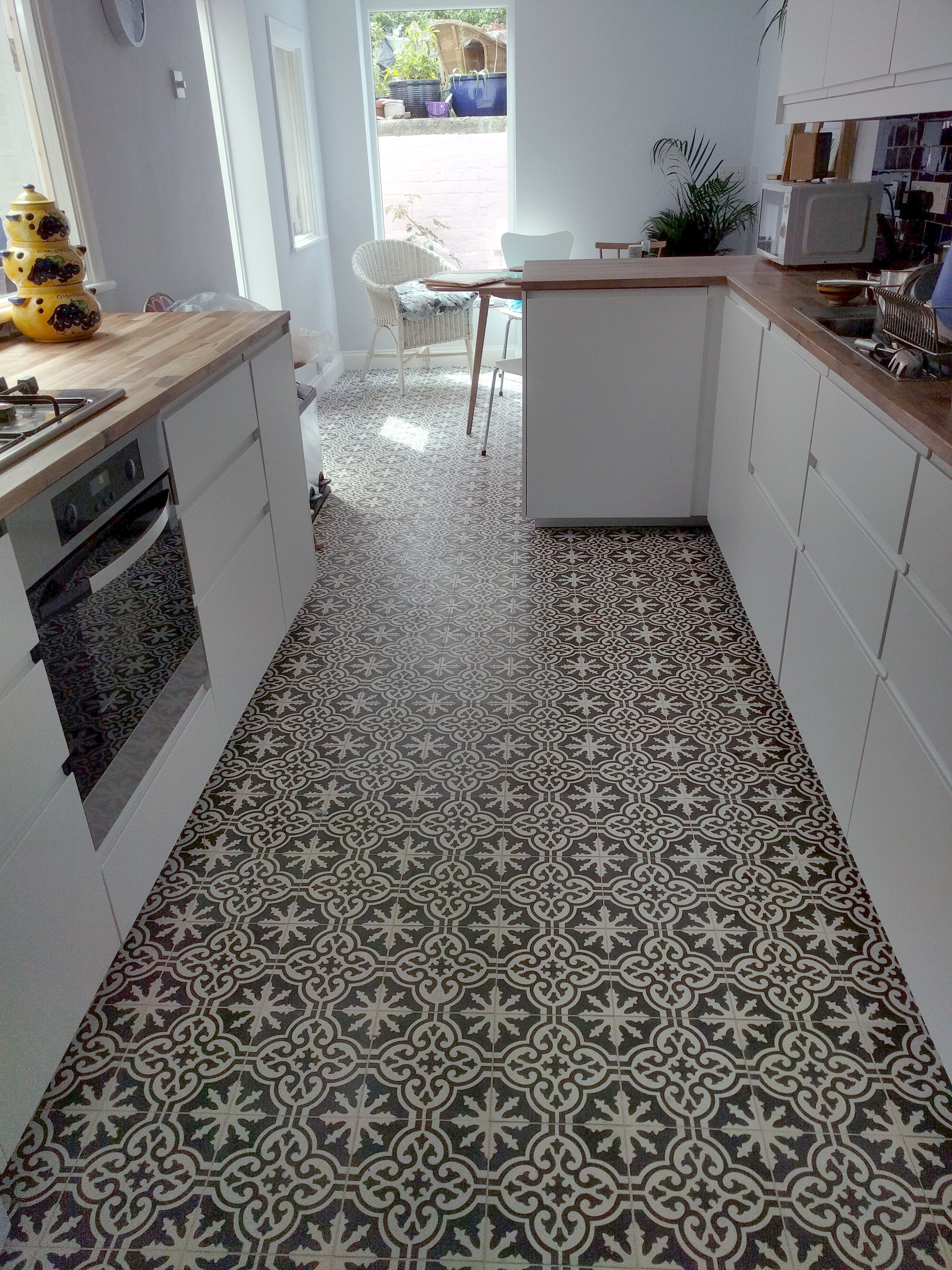 Our Sahara 454 Encaustic Tiles Installed On A Kitchen Floor In