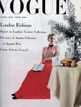"""Vogue UK, Nov. 1944 -- """"As we go to press, the Collections are being shown in Paris – the first free demonstrations of the couture since 1940."""" The theatre is also set for a peacetime resurgence, with Gielgud's production of Hamlet expected to make theatrical history."""
