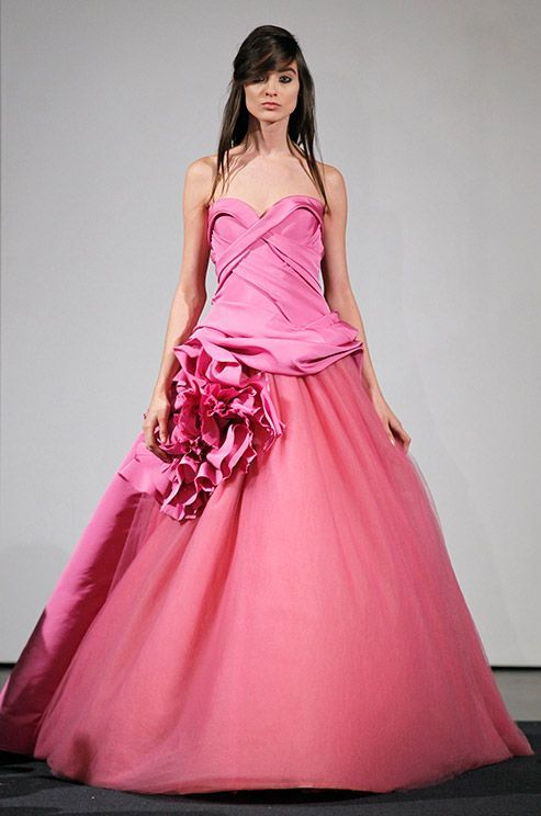 Ball Gown Wedding Dresses : Fuschia ball gown with large flower as ...