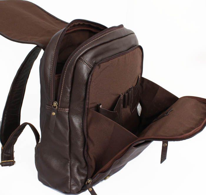 536cfd509 Mochila em couro legítimo modelo unissex, toque macio, forro interno espaço  acolchoado para tablet, Ipad ou notebooks até 14.