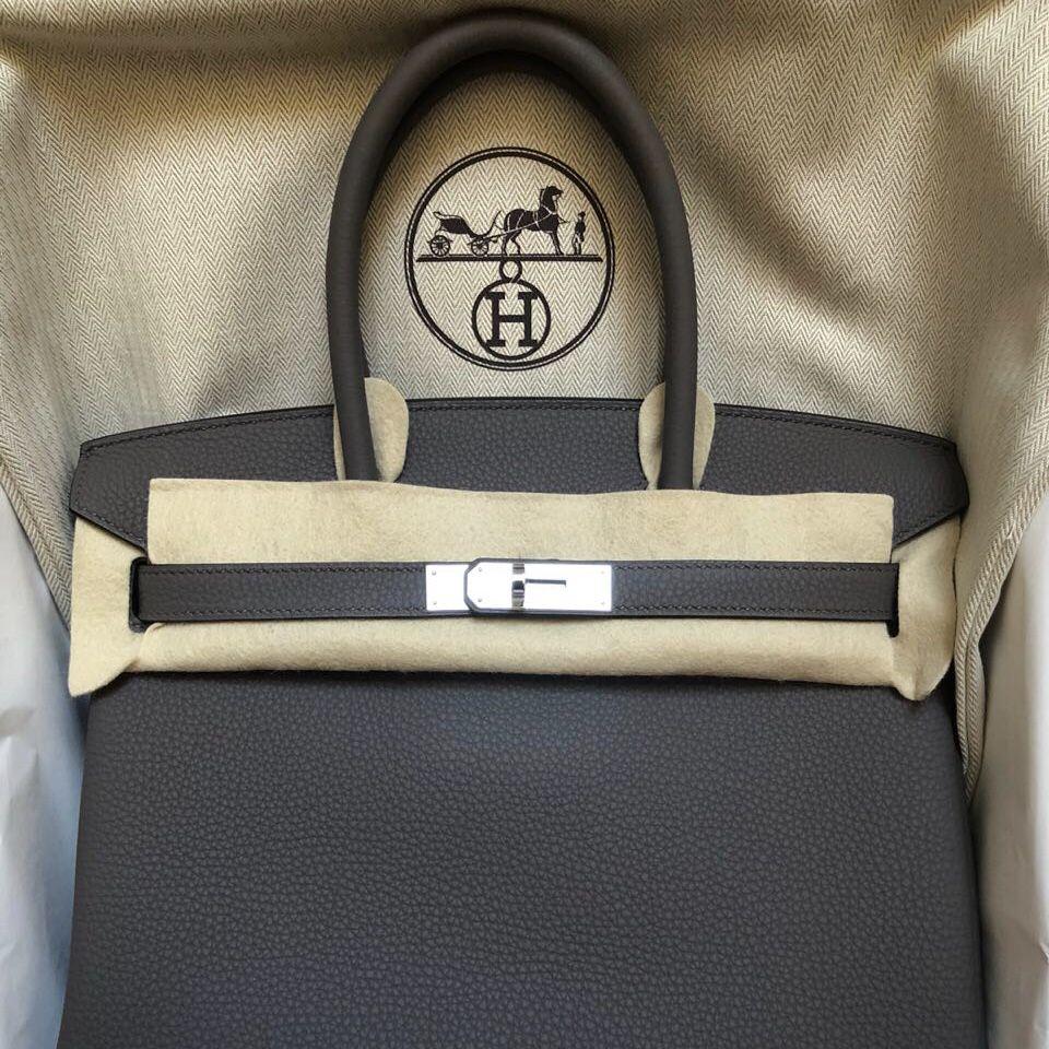 6a8ac330a7 Hermès Birkin 30 Gris Etain Togo Palladium Hardware PHW C Stamp 2018   birkin30  thefrenchhunter
