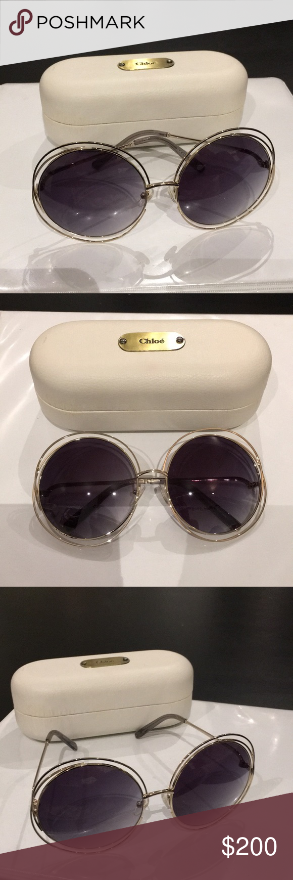 ee1b8d771764 Chloe Women s Carlina glasses. Chloe Women s Carlina 62mm Gray gradient oversized  round glasses. Glasses are in pristine condition.