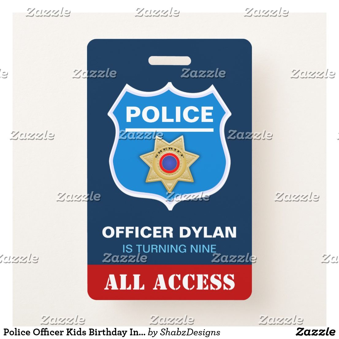 Police officer kids birthday invitation id card badge police officer kids birthday invitation id card badge amaze your guests with this cool police themed stopboris Choice Image