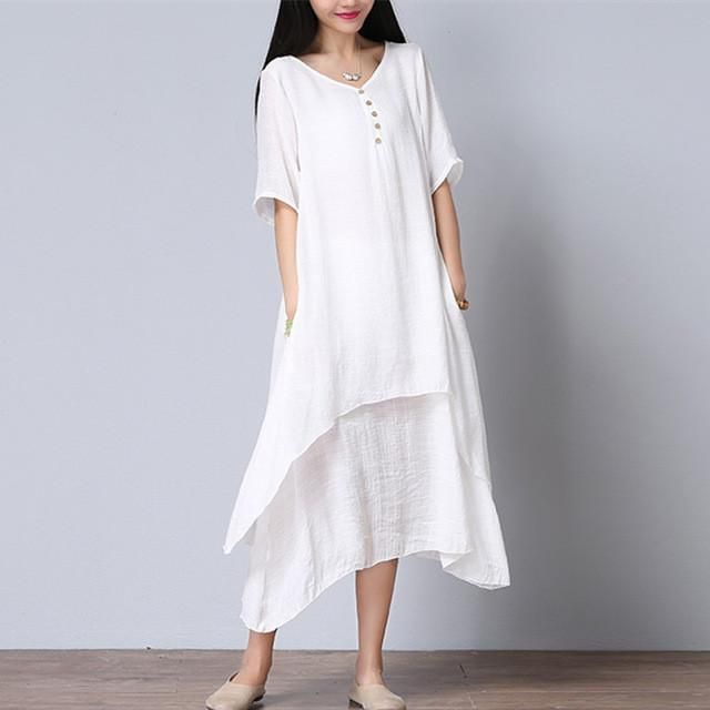 73b0d6f78f9 Maxi Dresses Cotton Linen Long Beach Casual Dress Plus Size ...