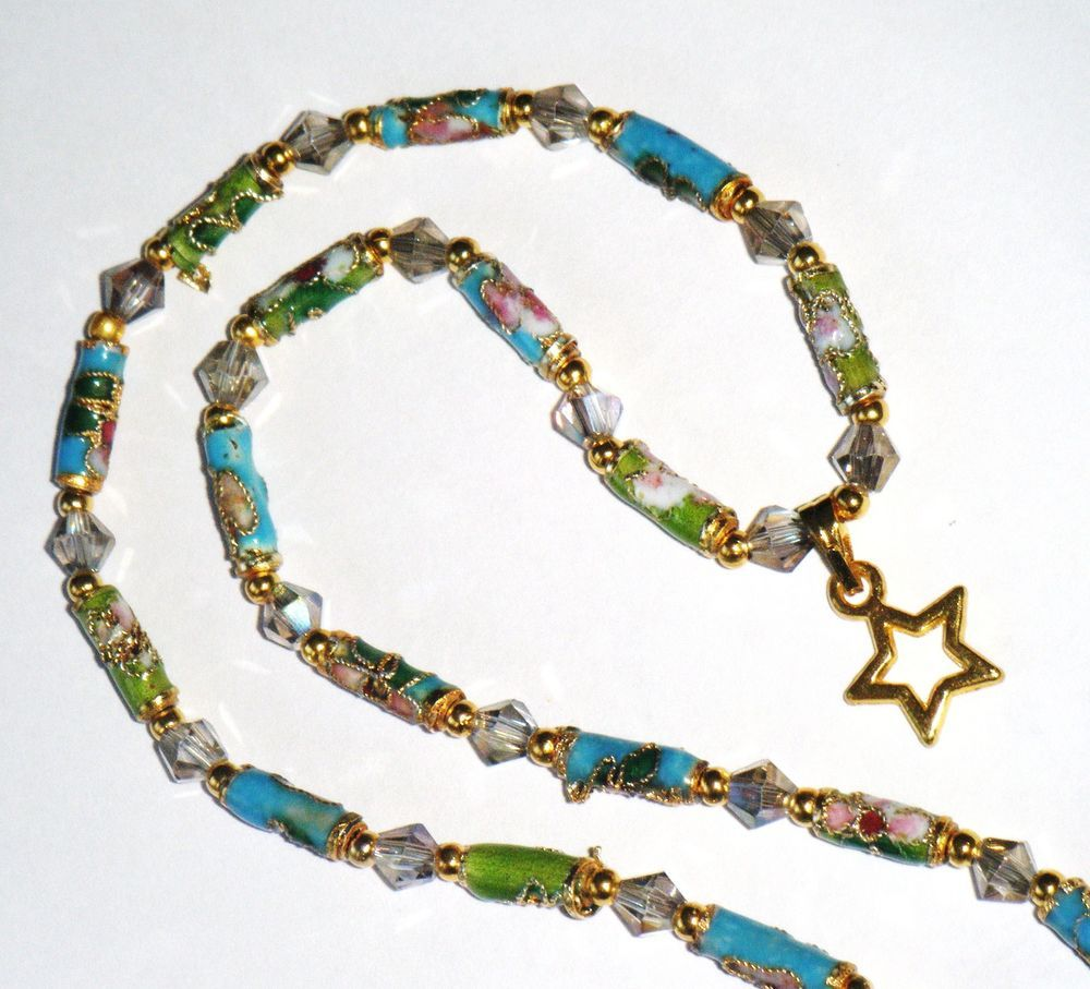 """Blue & green bead necklace, small cloisonne & crystal beads, star charm, 18"""" long (46cm)"""