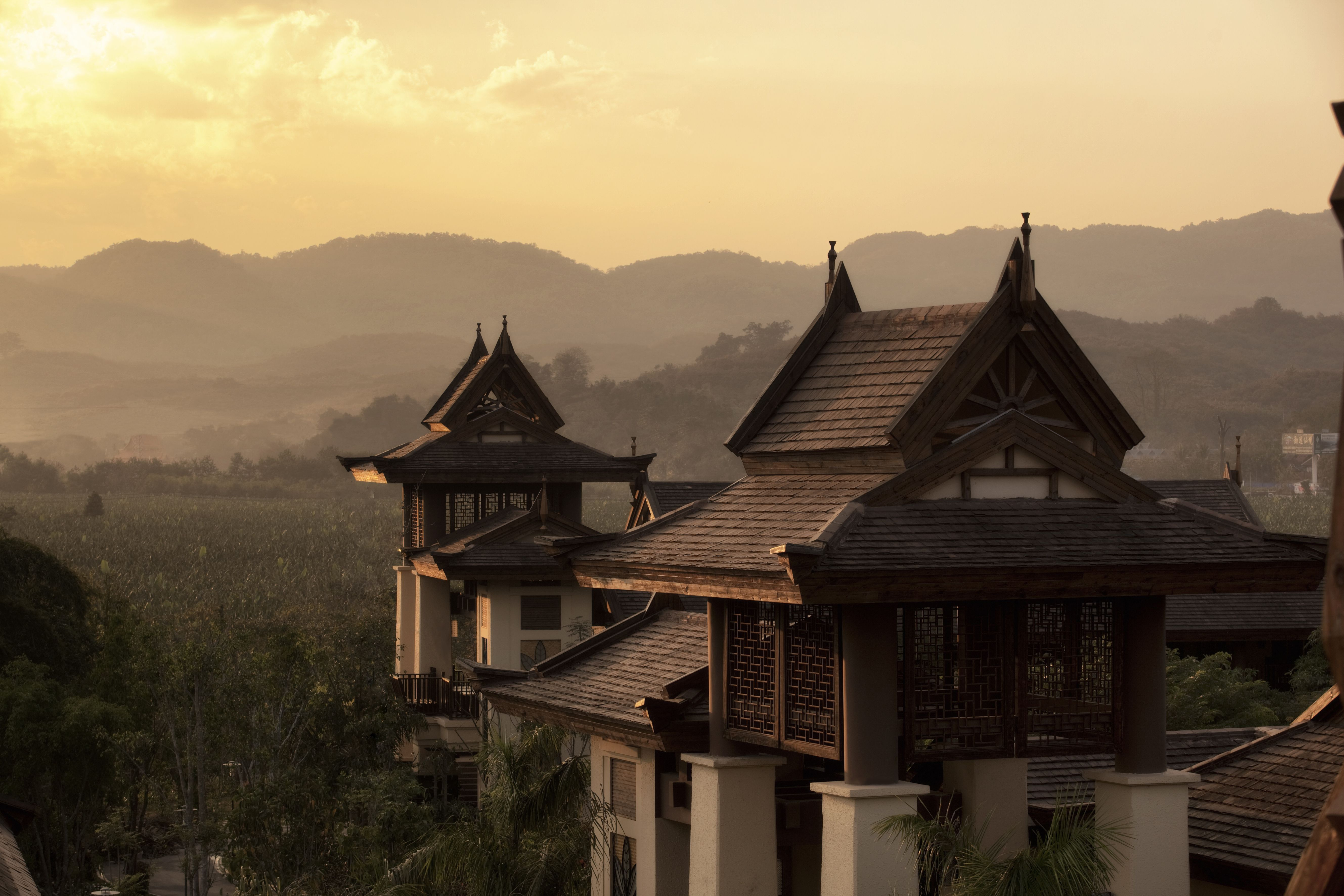 #Wanderlust House in the mountain. #Misty Mountain views and nature surroundings at #Anantara Xishuangbanna, Yunnan, China. Best destination to unwind!