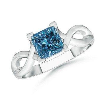 Angara Princess Cut Diamond Crossover Ring with Diamond Accents 4ClBez