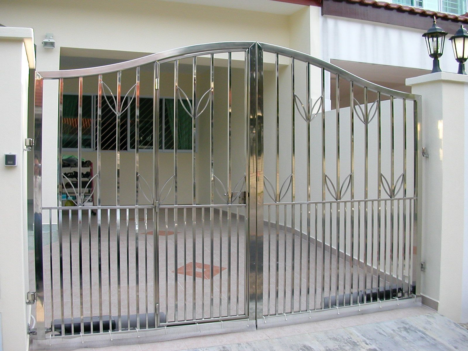 Steel Gates Picture 2 Of 14 Stainless Steel Main Gate With | Steel Gates And Stairs | Dreamstime | Handrail | Stainless Steel | Fence Gate | Egress