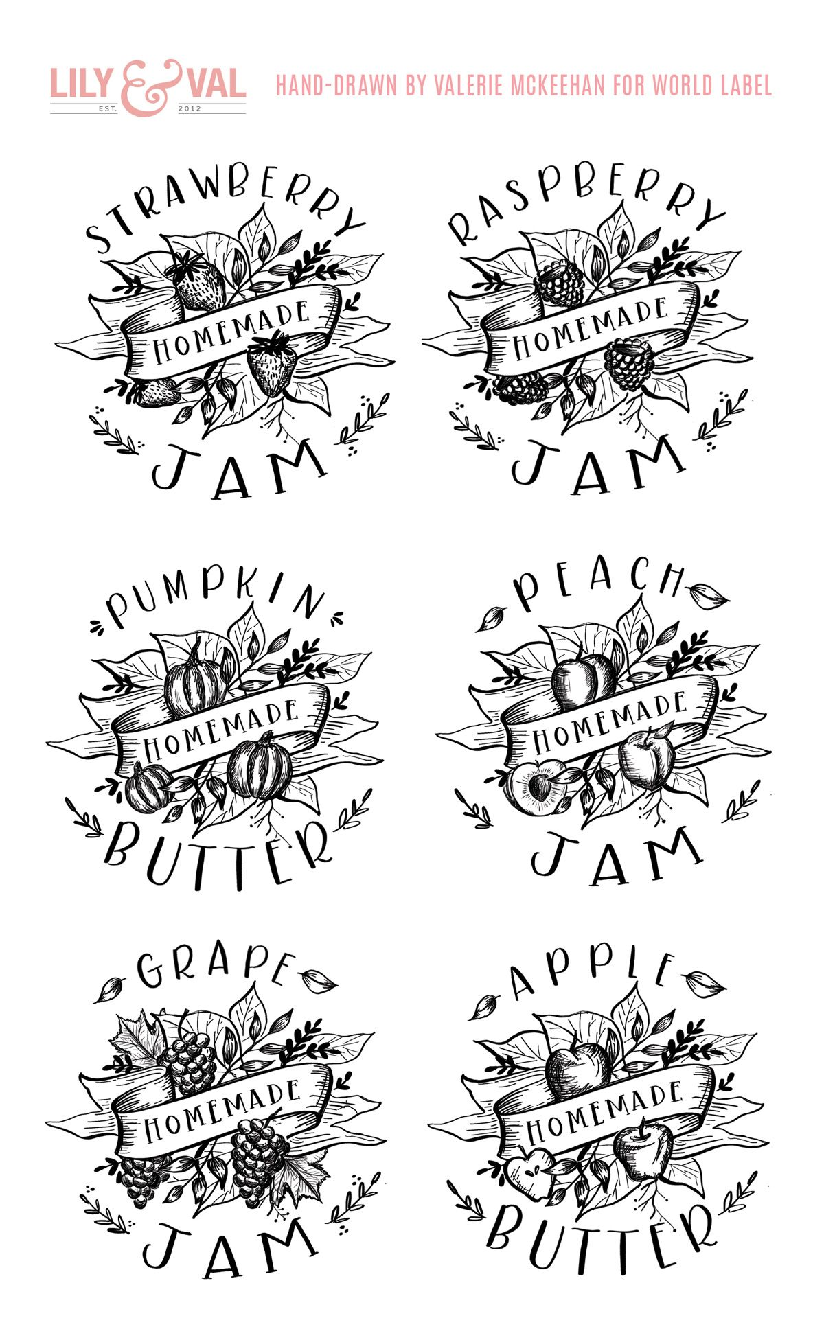 free lily & val for world label hand-drawn jam label downloads