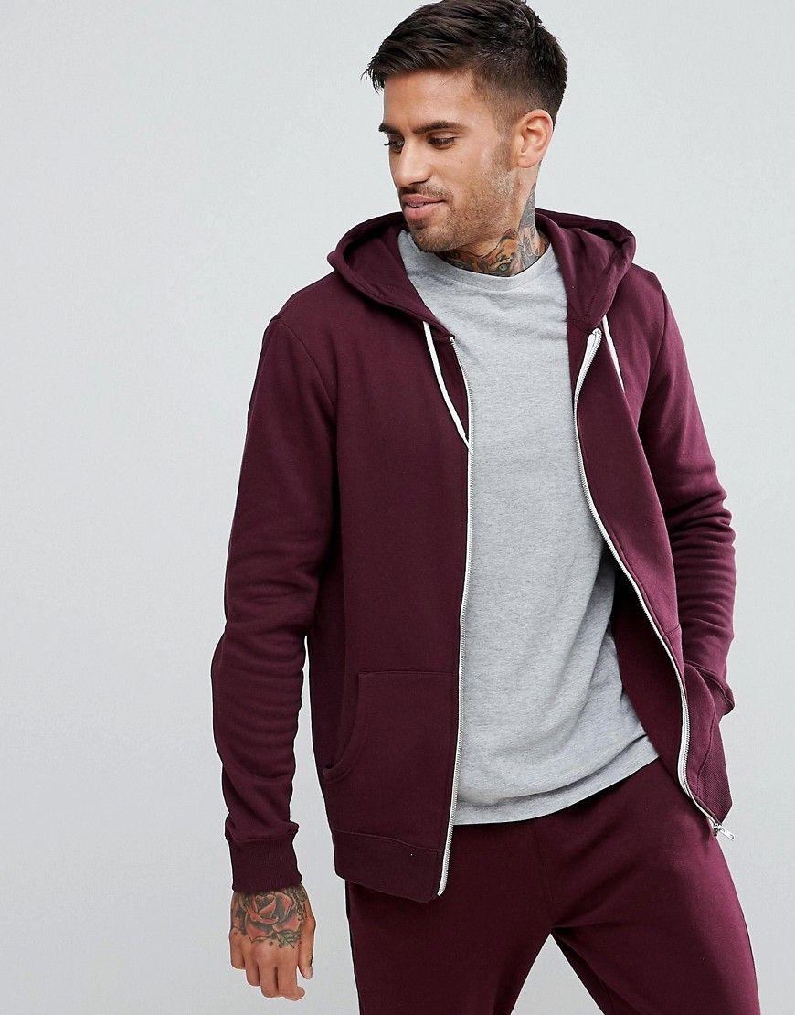 New Look Zip Through Hoodie In Burgundy - Red