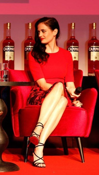Eva Green in Andrew Gn dress and Christian Louboutin strappy sandals at the Campari Calendar 2015 Launch in London -November 5, 2014