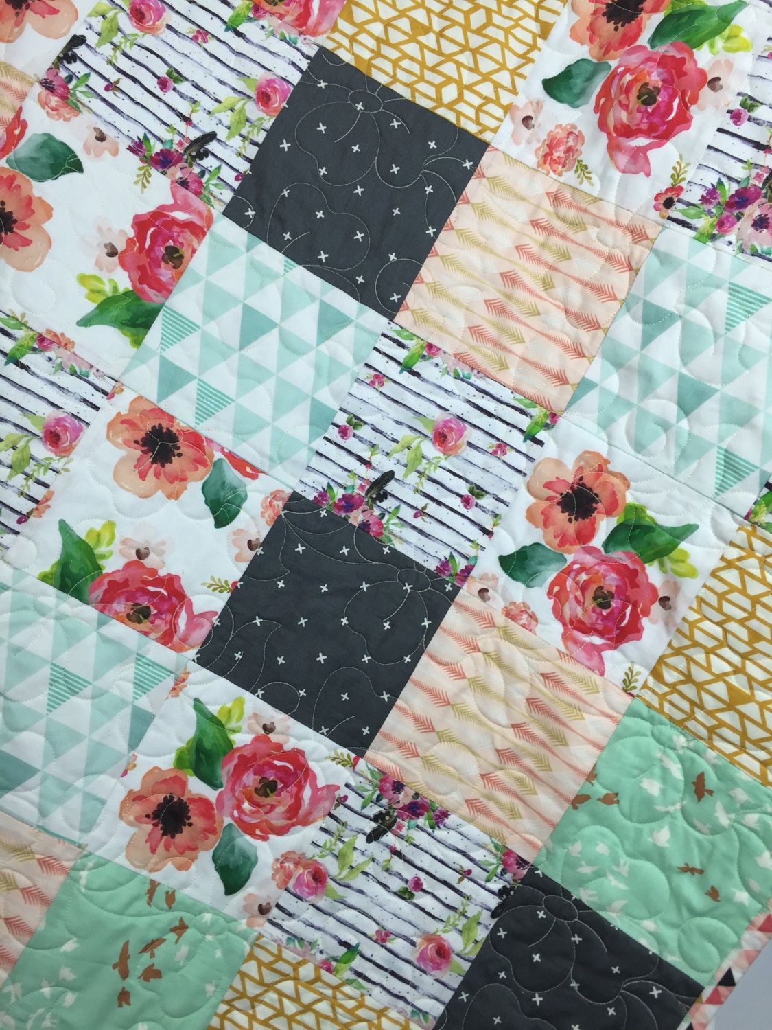 Modern floral baby girl nursery quilt, floral girl crib bedding, peach, coral mint baby girl nursery blanket flowers nursery quilt by TinRoofQuilters on Etsy