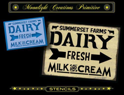Stencil-Vintage-Looking-Sign-SUMMERSET-FARMS-DAIRY-FRESH-MILK-CREAM-Cows